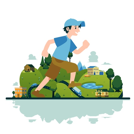 Illustration pour Vector man running in fast pace smiling. Happy male sportsman working out on countryside landscape background. Active young character, healthy lifestyle. - image libre de droit