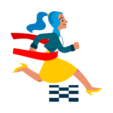 Illustration pour Vector running businesswoman crossing finish line. Female manager, woman in corporate outfit in a hurry, succeeding in competition. Time management and business people Isolated illustration - image libre de droit