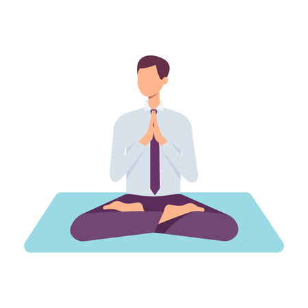 Ilustración de Vector man in corporate outfit, suit sitting in lotus posture practicing yoga. Male character at relaxation session. Concept of meditation, healthy lifestyle. Isolated illustration - Imagen libre de derechos