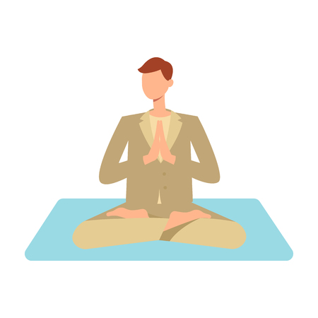 Illustration pour Vector man in casual outfit sitting in lotus posture practicing yoga. Male character at relaxation session. Concept of meditation, healthy lifestyle. Isolated illustration - image libre de droit