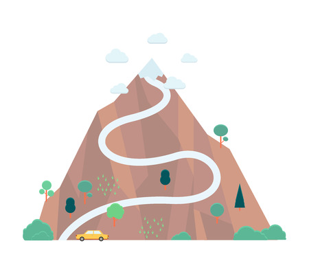 Ilustración de Vector mountain with flag on its top. Concept of success, achievement and long career path. Business leadership, challenge and setting objectives symbol. - Imagen libre de derechos