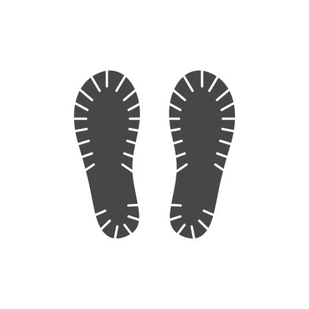 Ilustración de Vector abstract human boot, or sneakers shoe footprint icon. Black silhoette of footwear footmarks. Hiking equipment or army outdoor footwear. Isolated illustration - Imagen libre de derechos