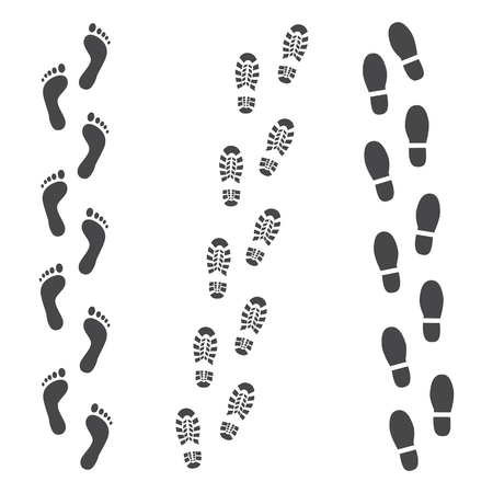 Ilustración de Vector abstract human boot, or sneakers shoe footprint track icon. Black silhoette of footwear footmarks. Hiking equipment or army outdoor footwear. Isolated illustration - Imagen libre de derechos