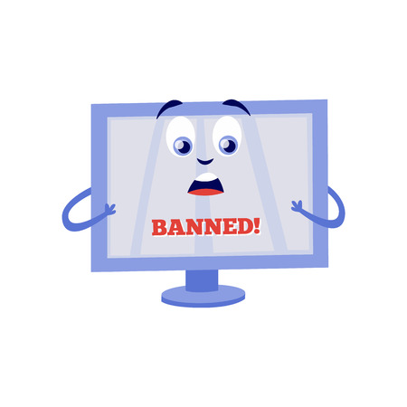 Illustration pour Shocked because of internet block computer monitor cartoon character with sign Banned on screen isolated on white background. Flat vector illustration of lock access to web pages concept. - image libre de droit