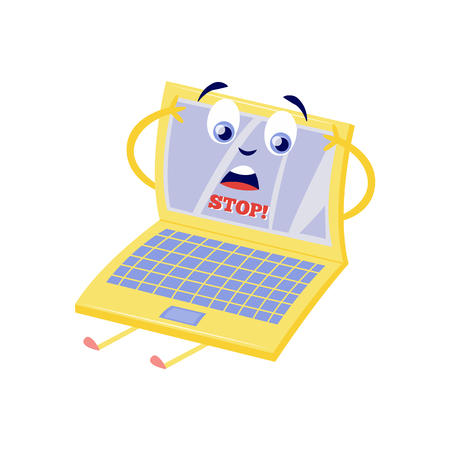 Illustration pour Blocked access to web pages concept with upset because of internet block laptop cartoon character with sign Stop on screen isolated on white background in flat vector illustration. - image libre de droit