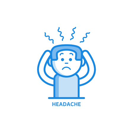Illustration pour Man with headache holding his head with hands because of pain isolated on white background - sick male character with symptom of disease or stress in outline vector illustration. - image libre de droit