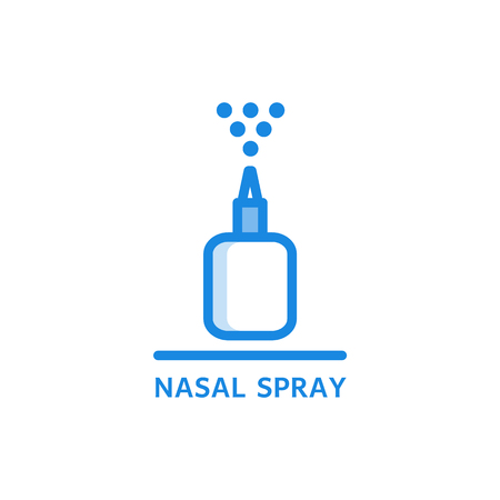 Ilustración de Nasal spray thin icon - plastic bottle with medicament spraying droplets up isolated on white background. Outline vector illustration of liquid pharmaceutical treatment. - Imagen libre de derechos