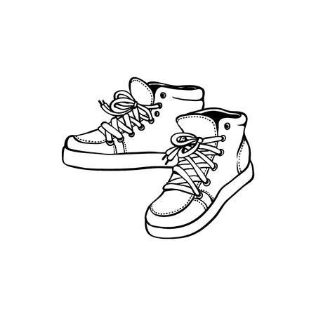 Ilustración de Sketch vintage sneakers black silhouette icon. Hand drawn sport clothing, 80s 90s retro footwear, hipster shoe for active lifestyle. Vector illustration. - Imagen libre de derechos