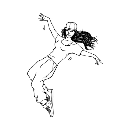 Illustration pour Young sketch girl with long hair in cap, sneakers dancing in hip hop rap street style. Female character in silhouette black icon style. Teen woman dancer. Vector illustration - image libre de droit