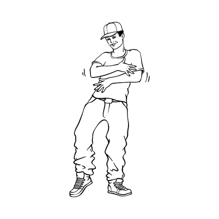 Illustration pour Hip-hop or rap style concept with young man in sneakers and snapback standing in rapper style isolated on white background. Black hand drawn line vector illustration of youth urban culture. - image libre de droit