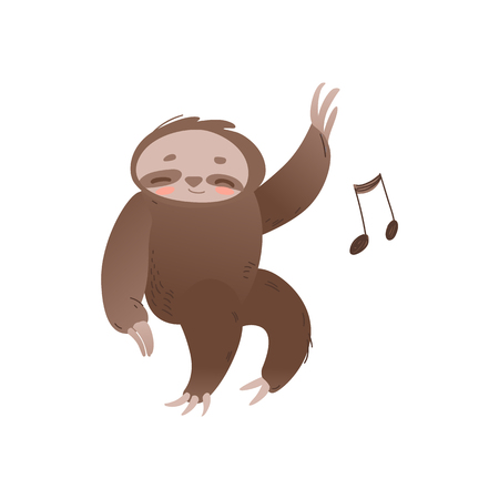 Illustration pour Cute sleepy sloth with closed eyes relaxing and listening to music - adorable jungle animal with musical note. Funny sleeping cartoon character in isolated flat vector illustration. - image libre de droit