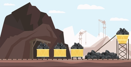 Illustration pour Coal mine industry and transportation vector illustration with piles of black mineral resource in minecarts - charcoal mining buildings, equipment and transport in flat style. - image libre de droit