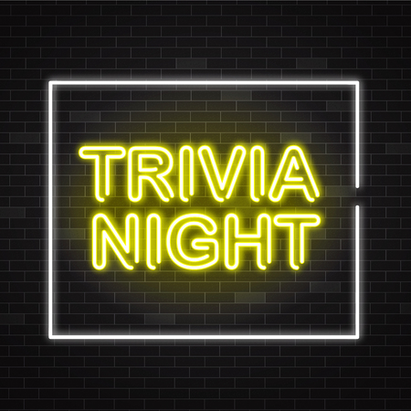 Illustration pour Trivia night yellow neon sign in white frame on dark brick wall background - vector illustration of illuminated pub quiz or contest announcement banner in realistic style. - image libre de droit
