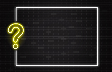 Illustration pour Quiz banner with yellow neon question mark in realistic style on dark brick wall background with white frame and copy space - vector illustration of trivia night or contest announcement poster. - image libre de droit