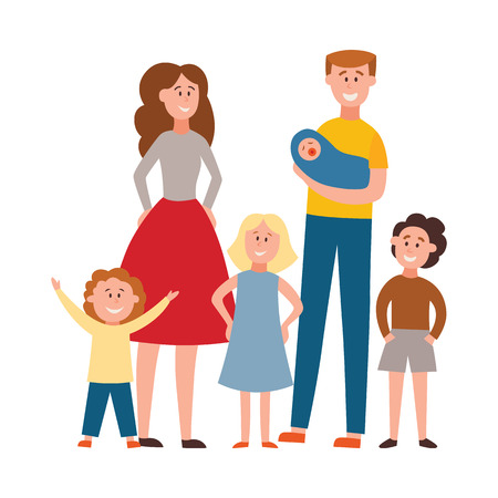 Illustration pour Vector happy full family standing together. Smiling parents and children. Father holding newborn baby, brothers and sisters have fun, man, woman hugging girls and boys. - image libre de droit