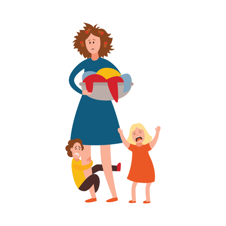 Ilustración de Vector parenthood problems of big family concept. Tired, exhausted mother with disheveled hair with naughty and nasty children crying. Mom holding dirty laundry trying to handle crying son, daughter - Imagen libre de derechos