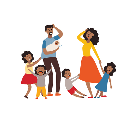 Ilustración de Vector parenthood problems of big family concept. Tired, exhausted african father and mother with naughty and nasty children. Mom and dad trying to handle crying sons, daughters and newborn baby. - Imagen libre de derechos