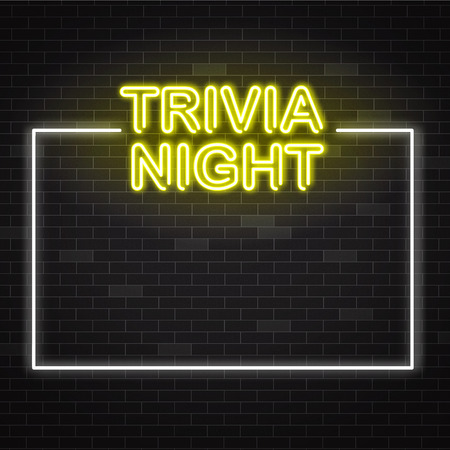 Illustration pour Trivia night yellow neon sign in white frame on dark brick wall background with copy space. Vector illustration of illuminated pub quiz or contest announcement poster in realistic style. - image libre de droit