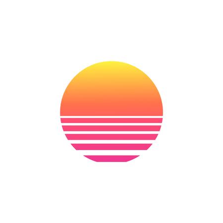 Ilustración de Isolated sunset gradient on white background. Vector illustration of sun in retro 80s and 90s style. - Imagen libre de derechos
