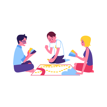 Illustration for Vector cheerful teen friends playing board game together. Happy young men, woman sitting around having fun. Smiling guys and girl at weekend or holiday party. - Royalty Free Image