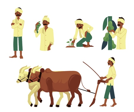 Illustration pour Vector cheerful indian farmer set. Barefood man plowing field by cows, harvest pears, planting seedling with traditional headscarf at head. Rural india, pakistan or bangladesh village characters - image libre de droit
