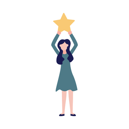 Ilustración de Woman makes a review of the quality of service raising the star sign. Concept of consumer or business feedback rating of satisfaction vector illustration isolated on white. - Imagen libre de derechos