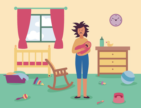 Ilustración de Tired woman stands in messy room holding crying baby flat cartoon style, vector illustration on interior background. Mother in postnatal depression indoor with scattered care items and toys - Imagen libre de derechos