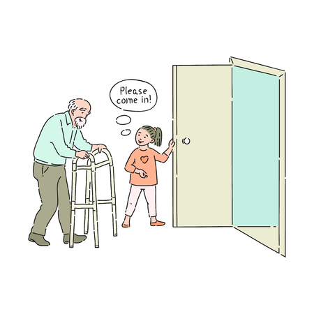 Illustrazione per Vector well-behaved girl opening door to elderly man saying please come in. Good manners, politeness of male kid. Decenity and urbanity of children concept. - Immagini Royalty Free