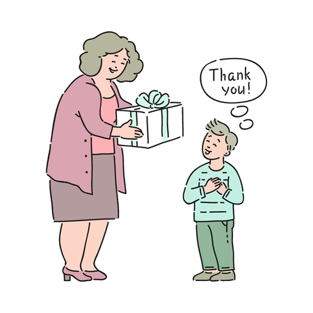 Illustrazione per Vector well-behaved boy saying thank you to elderly woman giving present box to him. Good manners, politeness of male kid. Decenity and urbanity of children concept. - Immagini Royalty Free