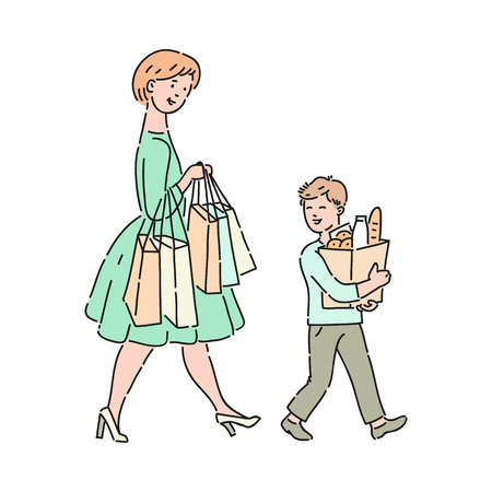 Illustrazione per Vector well-behaved boy helps mother carrying bags with food and purchases. Good manners, politeness of male kid. Decenity and urbanity of children concept. - Immagini Royalty Free