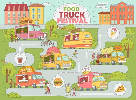 Illustration pour Food truck festival city map - fast food market with ice cream truck, donut and coffee shop, pizza van, hot dog stand with customers, hand drawn cartoon style infographic vector illustration - image libre de droit