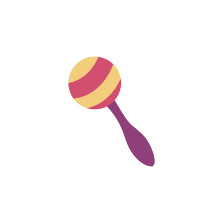 Illustration pour One colorful striped maraca with handle in flat style, vector illustration isolated on white background. Latin musical percussion instrument or children beanbag toy - image libre de droit