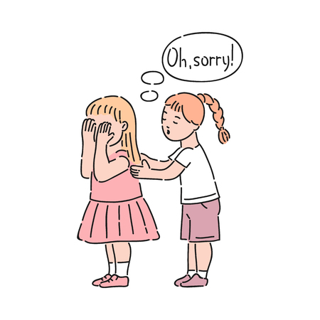 Illustrazione per Vector well-behaved girl saying sorry calming down crying girl. Good manners, politeness of female kid. Decenity and urbanity of children concept. - Immagini Royalty Free