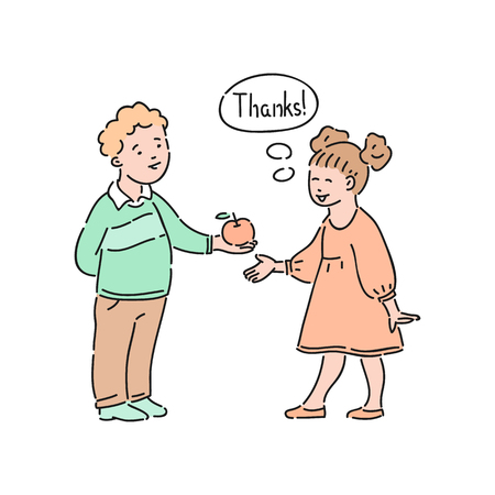 Illustrazione per Vector well-behaved girl says thank you to boy offering apple to her. Good manners, politeness of female kid. Decenity and urbanity of children concept. - Immagini Royalty Free