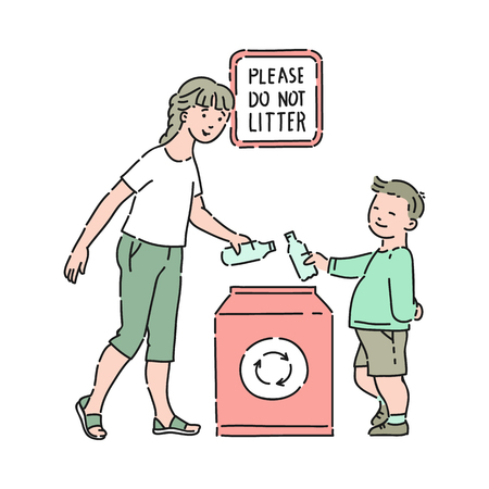 Illustrazione per Vector well-behaved boy taking out grabage with mother in special container for recycling with please do not litter inscription. Good manners, politeness of male kid. Decenity and urbanity of children - Immagini Royalty Free