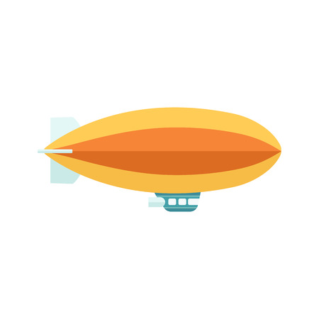 Illustration pour Vintage baloon with basket zeppelin aircraft in the flight. Retro air dirigible journey flat vector illustration isolated on white background. - image libre de droit