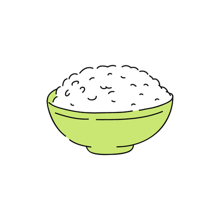 Ilustración de Cooked white rice in green bowl, hand drawn sketch of healthy asian food, healthy grain dinner and food for plain meal, traditional japanese, chinese cuisine. Ivolated vector illustration. - Imagen libre de derechos