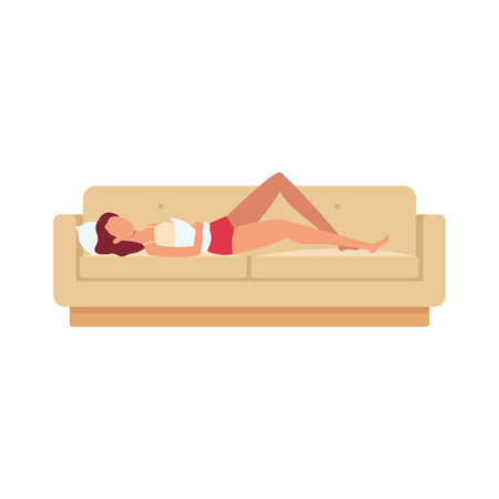 Ilustración de Sleeping brown haired woman is lying on the sofa on her back with a pillow in her hand and under her head. Night rest and relaxation in different positions, vector flat illustration. - Imagen libre de derechos