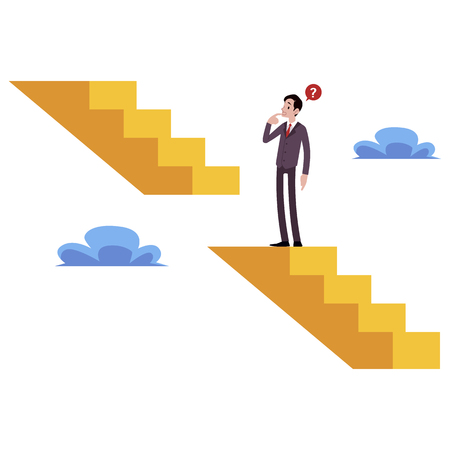 Illustration pour Businessman stands on broken stairs thinking how get next level cartoon style, vector illustration isolated on white background. Male climbing the career staircase, business challenge concept - image libre de droit