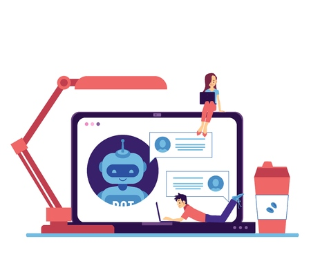 Ilustración de Vector cheerful chat bot communicating through laptop screen with freelancer man lying at keyboard, young girl sitting at monitor. Modern artificial intelligence support . Automatic customer support. - Imagen libre de derechos