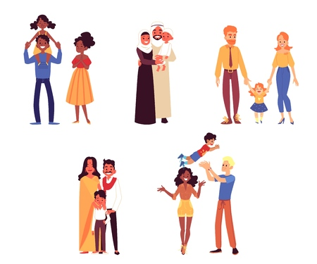 Ilustración de Set of happy diverse ethnicity and race families with child cartoon style, vector illustration isolated on white background. Couples of mothers and fathers with their sons and daughters - Imagen libre de derechos