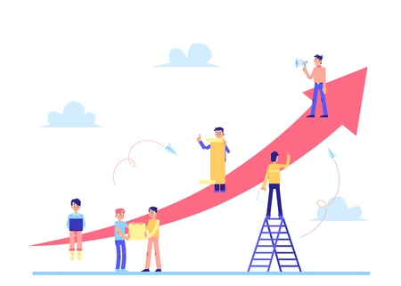 Illustration pour Scrum task board the strategy of business management for the team duties with people characters and pointing arrows isolated on white background flat vector illustration. - image libre de droit