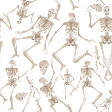 Illustration for Seamless pattern of white human skeletons dancing and moving - spooky background of medical anatomy and bone movement. Vector illustration isolated on white background. - Royalty Free Image