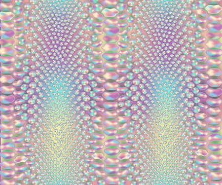 Illustration for Iridescent snake skin pattern, colorful snakeskin leather material print, wild reptile leather in pastel rainbow colors - vector illustration - Royalty Free Image