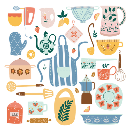 Ilustración de Set of ceramic kitchen utensils and tools in flat cartoon style, vector illustration isolated on white background. Collection of decorative ceramic crockery or porcelain tableware - Imagen libre de derechos