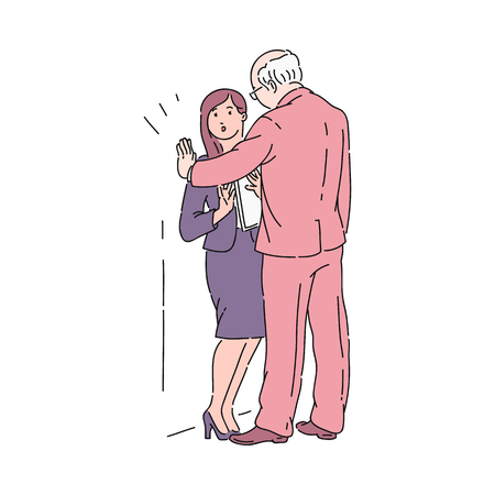 Ilustración de An old gray haired man in a suit presses a young girl against a wall in an office. Sexual harassment of the boss or colleague in the workplace. Violence and bullying, vector cartoon illustration. - Imagen libre de derechos