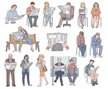 Ilustración de Set of people reading newspaper, collection of cartoon characters men and women who read news in different poses, clothes and situations, isolated vector illustrations on white background - Imagen libre de derechos