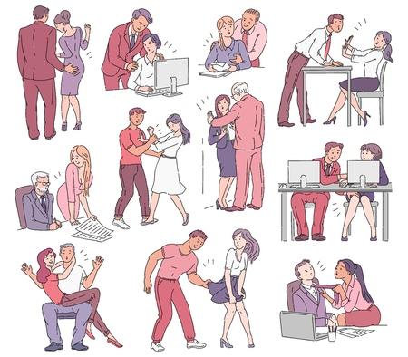 Illustrazione per A set of situations of sexual harassment and abuse, violence and bullying between men and women in the workplace in the office and on the street. Vector comic cartoon illustration. - Immagini Royalty Free