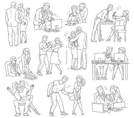 Ilustración de A set of sexual abuse and harassment, bullying and violence discrimination problem between men and women, vector outline comic cartoon illustration. - Imagen libre de derechos