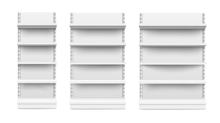 Illustration pour Empty stand retail shelves three diferent size pieces mockup isolated on white background. Supermarket product advertising blank and POS display mockup front view vector illustration. - image libre de droit